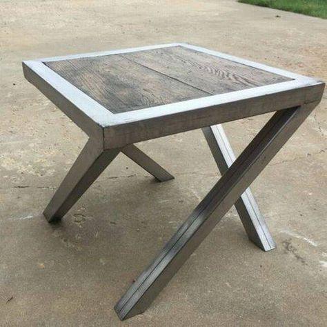 Vierkante Metalen Tafel Staal En Hout