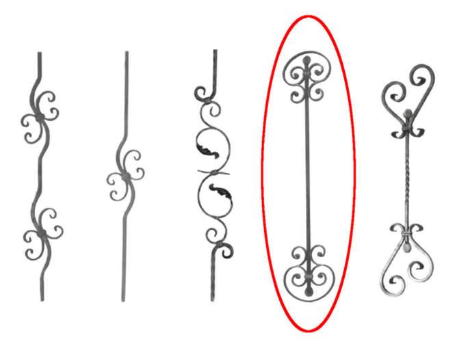 Elementen en figuren voor smeedijzeren balustrades en balkons