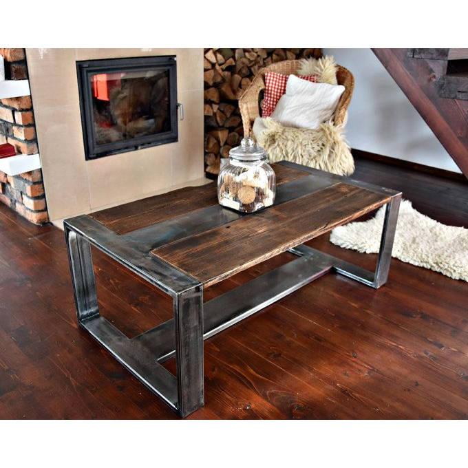 Table à Café Vintage Métal Bois